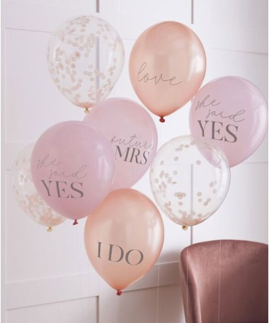 "Ballons Confettis et Messages "" She said Yes"""