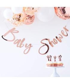 """Guirlande """"Baby Shower"""" or rose"""