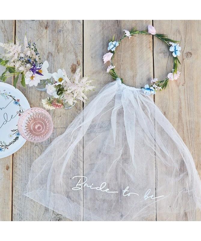 Voile Bride to be couronne de fleurs