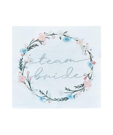 Serviettes EVJF Team Bride Boho florales