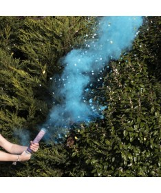 Canon à fumée et confettis bleu