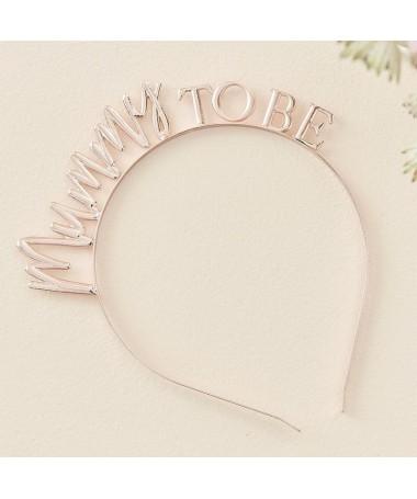 "Serre-tête ""Mummy to be"" métallique or rose"
