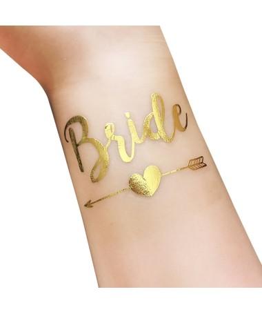 "Tatouage temporaire EVJF ""Bride"" flèche gold"
