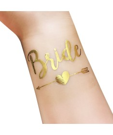 "Tatouage éphémère EVJF ""Bride"" flèche dorée"