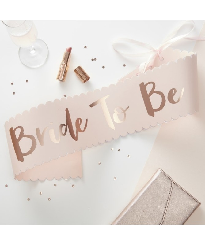 Echarpe EVJF Bride to be blanche et or