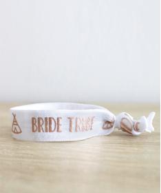 """Bracelet EVJF """"Team Bride Tipi"""" blanc"""