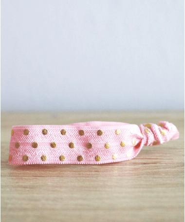Bracelet Elastique Rose à pois dorés