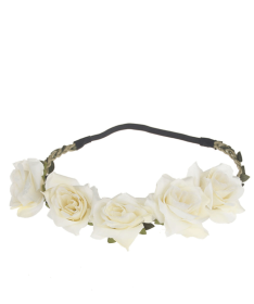 Headband couronne de fleurs blanches