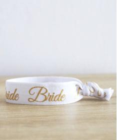 """Bracelet EVJF """"Bride"""" blanc et doré"""