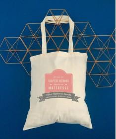 Tote Bag Super Maîtresse - Idée cadeau nounou - ATSEM avec son prénom ❤