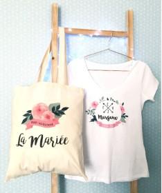 Tote Bag EVJF - Fleurs au ruban