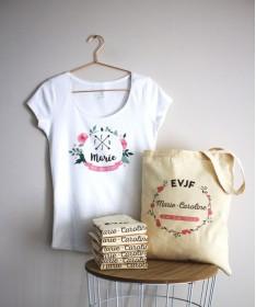 Tshirt EVJF personnalisé - Couronnes de fleurs