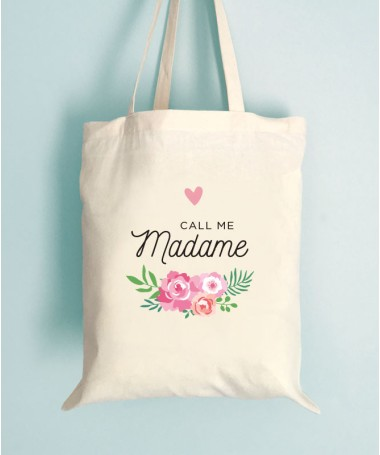 Tote Bag EVJF Floral Call me Madame