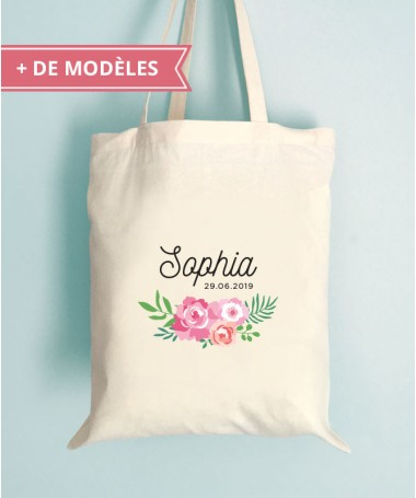 Tote Bag EVJF Floral Personnalisable