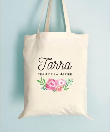 Tote Bag EVJF Floral Team de la Mariée Personnalisable