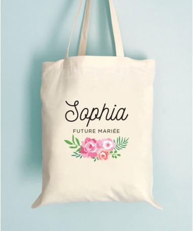 Tote Bag EVJF Floral Future Mariée Personnalisable