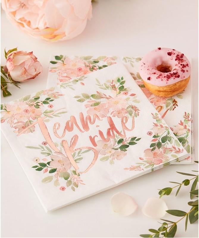 """Serviettes EVJF """"Team bride"""" florale et cuivre"""