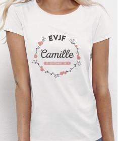 T-shirt EVJF personnalisé Couronne de fleurs - Future mariée et sa team