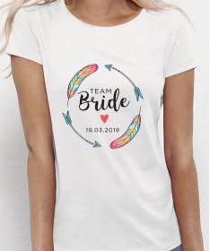 """T-shirt """"Team Bride"""" EVJF Plumes colorées à personnaliser"""