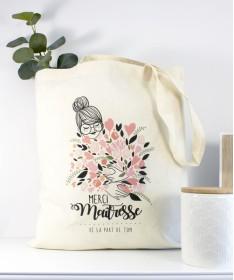 Tote Bag Maitresse Bouquet de fleurs rose personnalisable