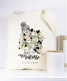 Tote Bag Maitresse ATSEM ou Nounou Bouquet de fleurs vert personnalisable